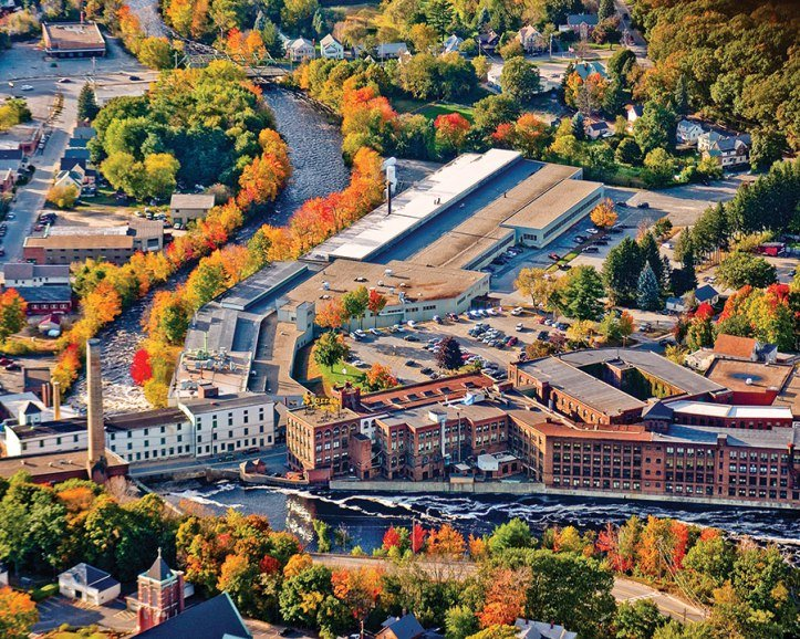 A birds eye view of the Starrett Factory and Millers River