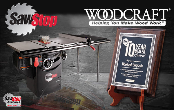Woodcraft Receives Sawstop Decade Dealer Award