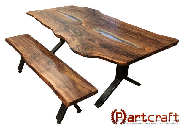 Custom Live Edge Walnut Slab Dining Set