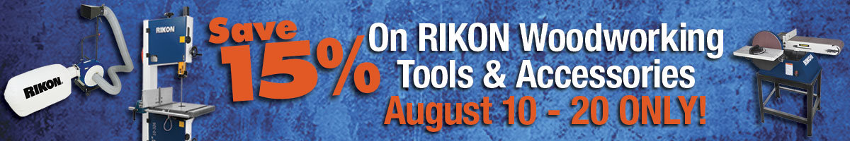 Save 15% Rikon tools and accessories