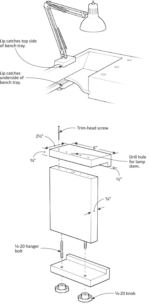 Adjustable Bench Light Bracket
