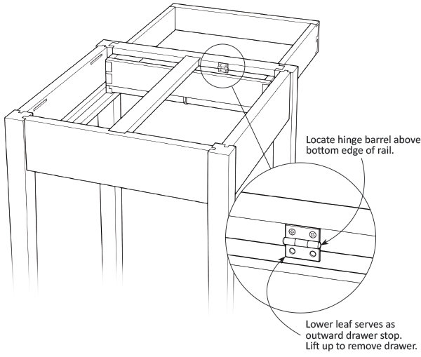 Hinge as a drawer stop