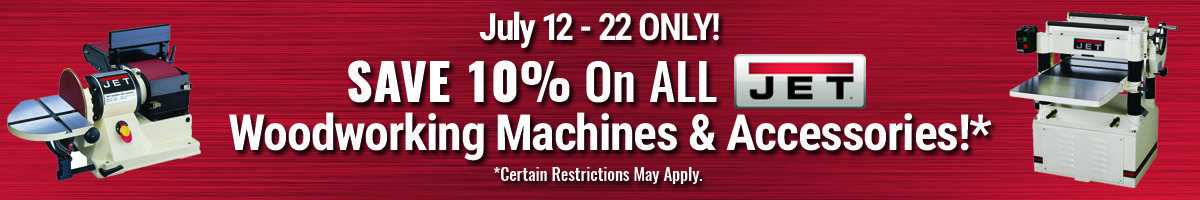 Save 10% on Jet woodworking tools and accessories