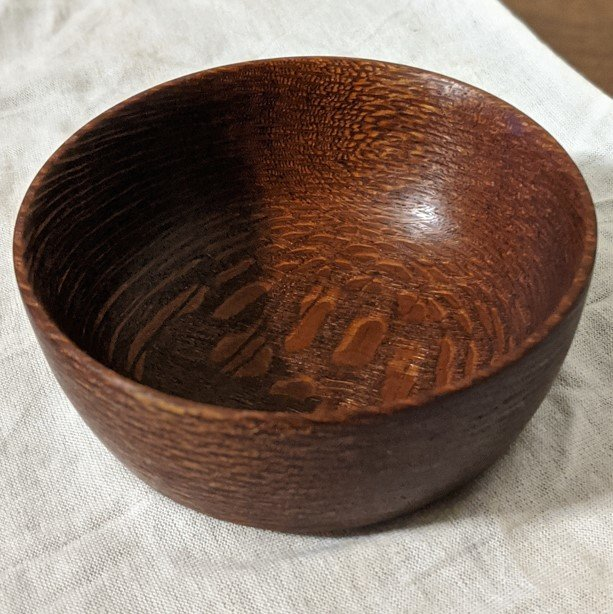 Small turned Leopard Wood Bowl