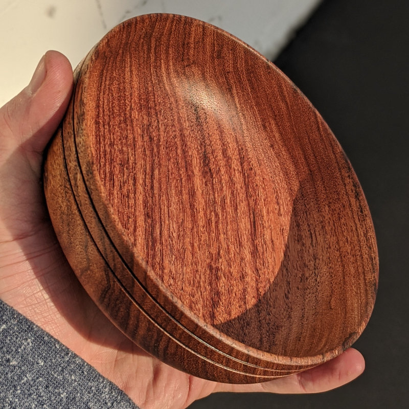 Shallow Black Mesquite bowl with 2 burned accent lines