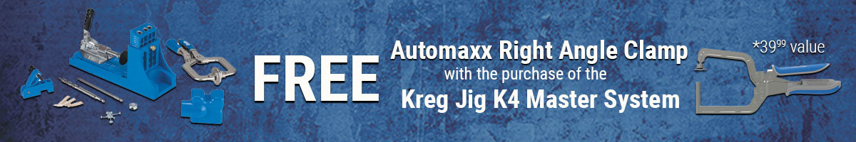 Free Automaxx right angle clamp w/purchase of Kreg Jig K4 Master System
