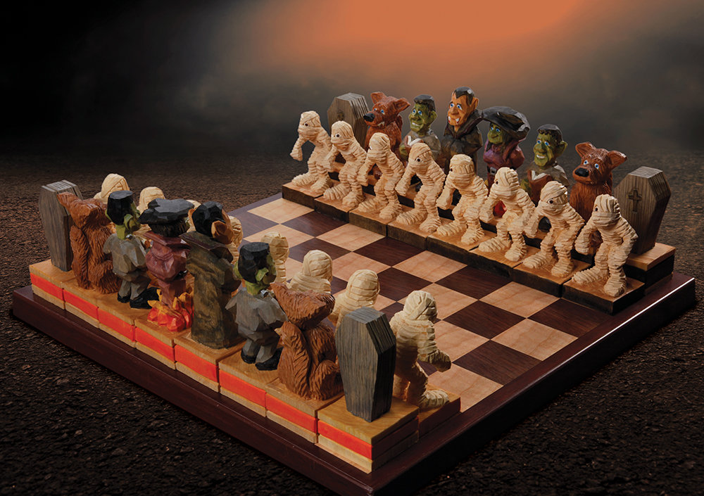 Woodcarving a Halloween Chess Set
