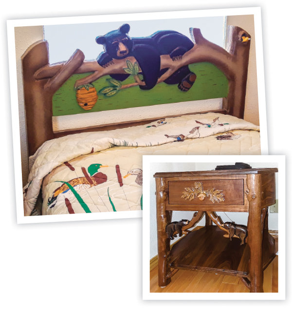 This one is just right. A headboard with a black bear and a bedside table with sleeping bears.