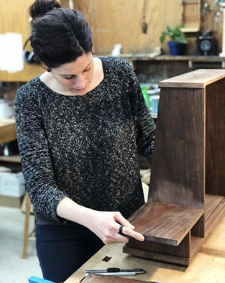 Michelle Frederick works on her first project at The Krenov School – a wall shelf/mirror combo. (Photo: Gilad Kagen)