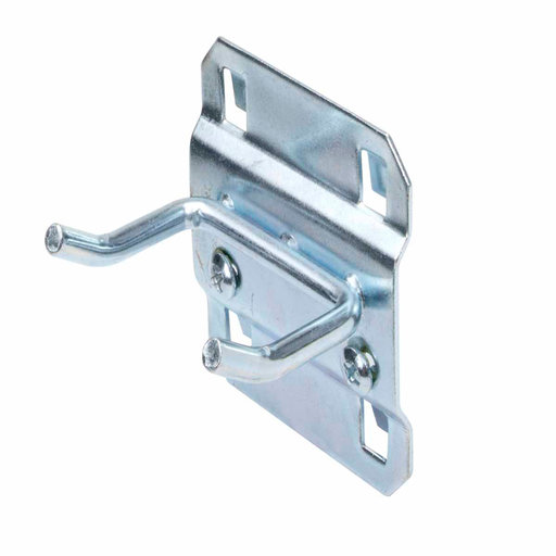 View a Larger Image of 1 In. Double Rod 30 Degree Bend 3/16 In. Dia. Zinc Plated Steel Pegboard Hook for LocBoard, 5 Pack