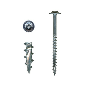 10 x 3 Cabinet Installation Screws, Washer Head, Combo Drive, Zinc with White Painted Head, 100-Piece