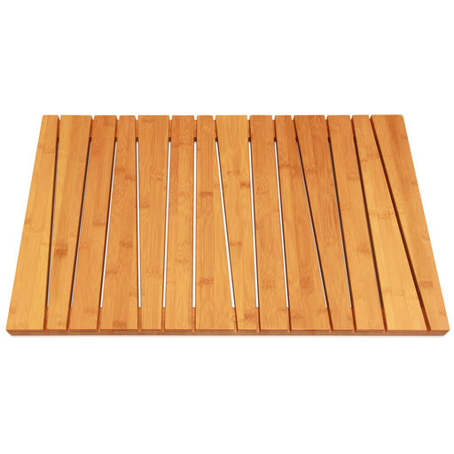 View a Larger Image of 100% Natural Bamboo Deluxe Shower Floor and Bath Mat, Skid Resistant, Heavy-Duty
