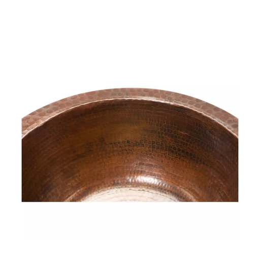 "View a Larger Image of 14"" Round Hammered Copper Bar Sink w/ 2"" Drain Size"