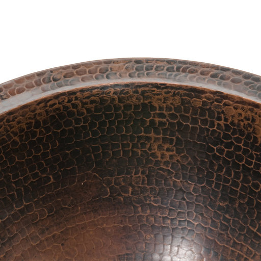 "View a Larger Image of 14"" Round Under Counter Hammered Copper Sink"