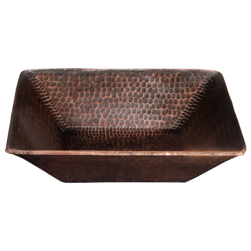 "View a Larger Image of 14"" Square Hand Forged Old World Copper Vessel Sink"
