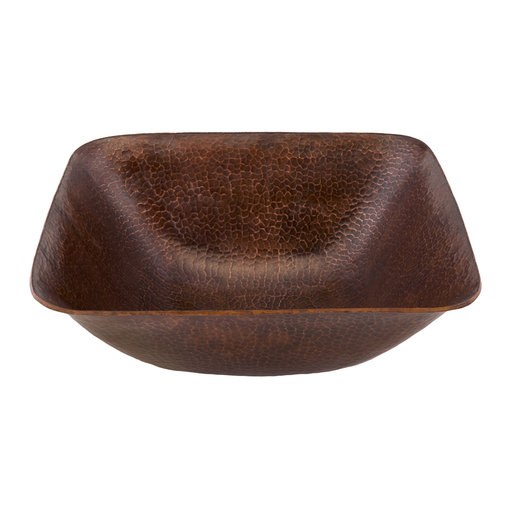 "View a Larger Image of 14"" Square Vessel Hammered Copper Sink"
