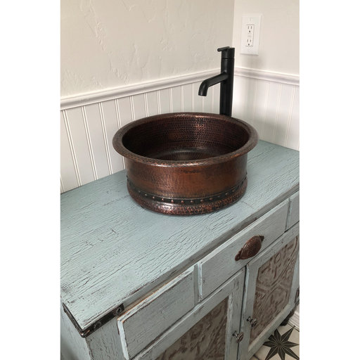 "View a Larger Image of 15"" Round Vessel Tub Hammered Copper Sink"