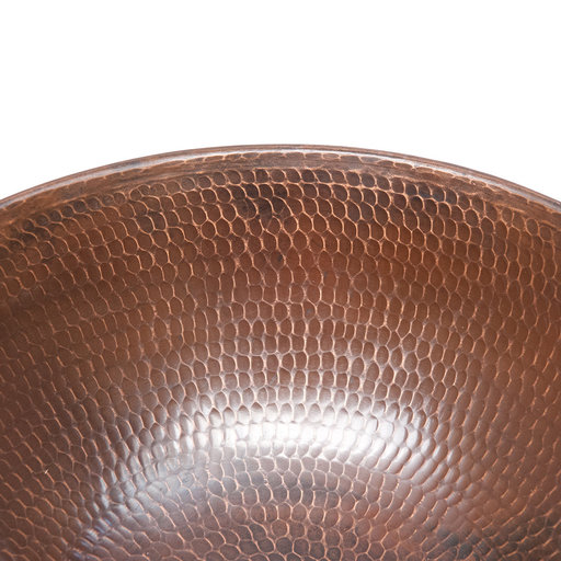 "View a Larger Image of 15"" Round Wired Rim Vessel Hammered Copper Sink"