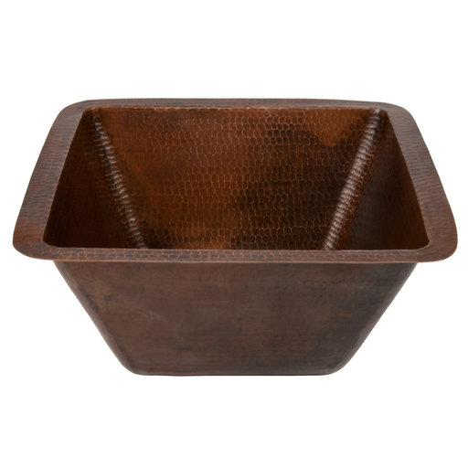 "View a Larger Image of 15"" Square Hammered Copper Bar/Prep Sink w/ 2"" Drain Size"