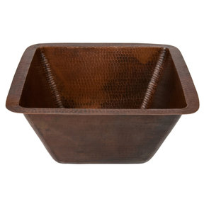 "15"" Square Hammered Copper Bar/Prep Sink w/ 2"" Drain Size"