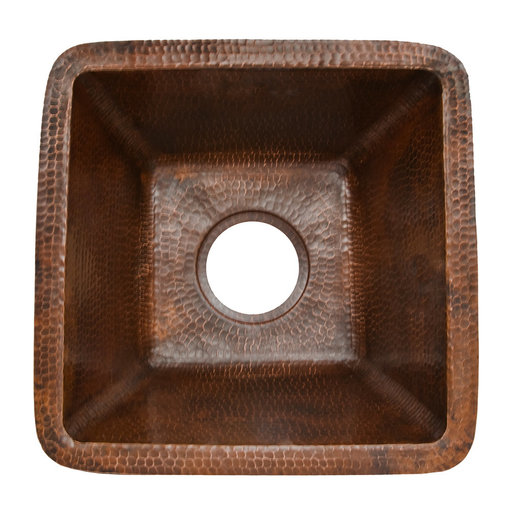 "View a Larger Image of 15"" Square Hammered Copper Bar/Prep Sink w/ 3.5"" Drain Size"
