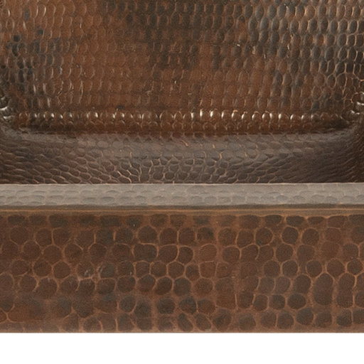 "View a Larger Image of 15"" Square Skirted Vessel Hammered Copper Sink"