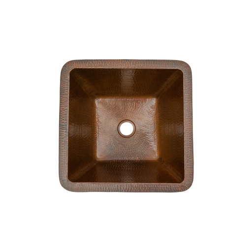"View a Larger Image of 15"" Square Under Counter Hammered Copper Bathroom Sink"