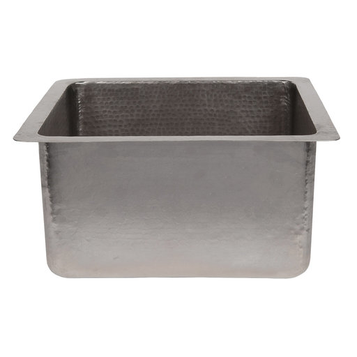 "View a Larger Image of 16"" Gourmet Rectangular Hammered Copper Bar/Prep Sink in Nickel"