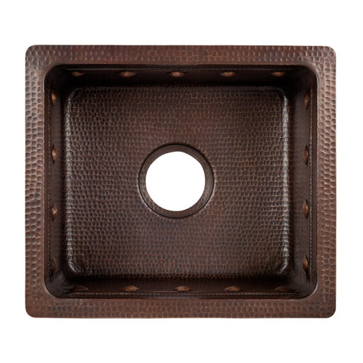 "View a Larger Image of 16"" Gourmet Rectangular Hammered Copper Bar/Prep Sink w/ Barrel Strap Design"