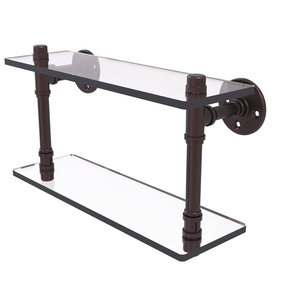 "16"" Double Glass Shelf, Antique Bronze Finish"