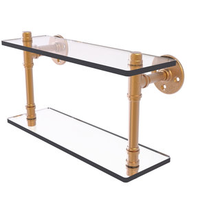 "16"" Double Glass Shelf, Brushed Bronze Finish"