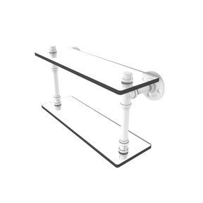 "16"" Double Glass Shelf, Matt White Finish"