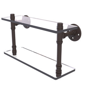 "16"" Double Glass Shelf, Oil Rubbed Bronze Finish"