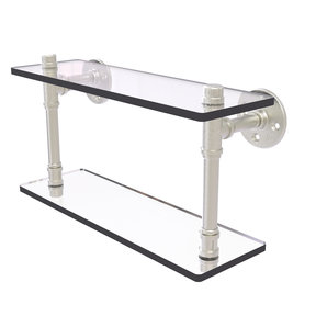 "16"" Double Glass Shelf, Satin Nickel Finish"