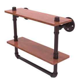"16"" Double Ironwood Shelf with Towel Bar, Antique Bronze Finish"