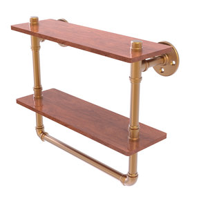 "16"" Double Ironwood Shelf with Towel Bar, Brushed Bronze Finish"