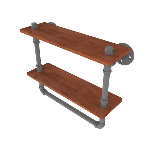 "View a Larger Image of  16"" Double Ironwood Shelf with Towel Bar, Matt Gray Finish"