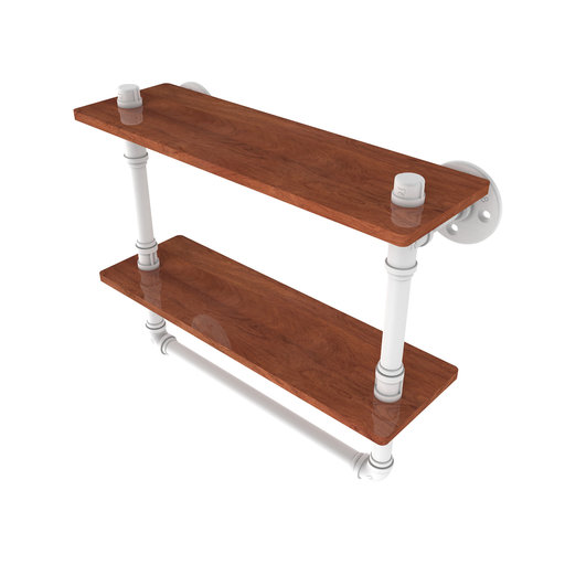 "View a Larger Image of  16"" Double Ironwood Shelf with Towel Bar, Matt White Finish"