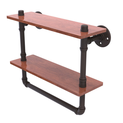 "View a Larger Image of  16"" Double Ironwood Shelf with Towel Bar, Oil Rubbed Bronze Finish"