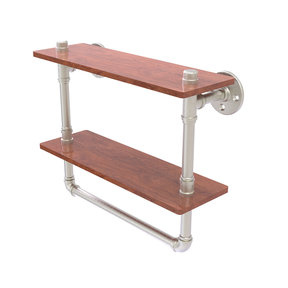 "16"" Double Ironwood Shelf with Towel Bar, Satin Nickel Finish"