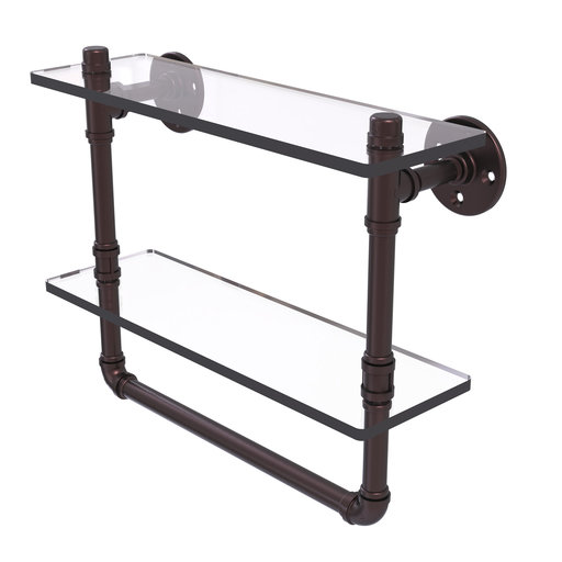 "View a Larger Image of  16"" Double Glass Shelf with Towel Bar, Antique Bronze Finish"
