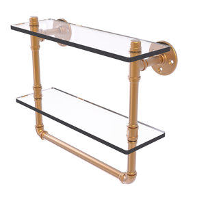 "16"" Double Glass Shelf with Towel Bar, Brushed Bronze Finish"