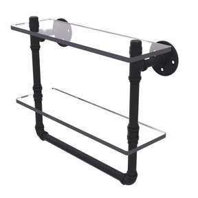 "16"" Double Glass Shelf with Towel Bar, Matt Black Finish"