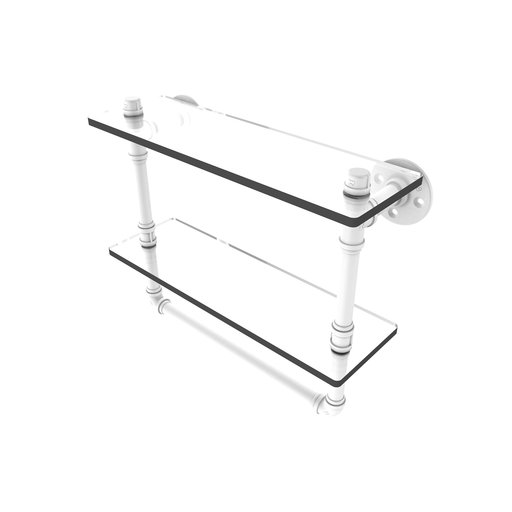 "View a Larger Image of  16"" Double Glass Shelf with Towel Bar, Matt White Finish"