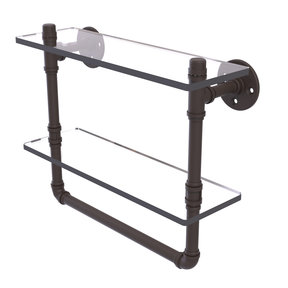 "16"" Double Glass Shelf with Towel Bar, Oil Rubbed Bronze Finish"