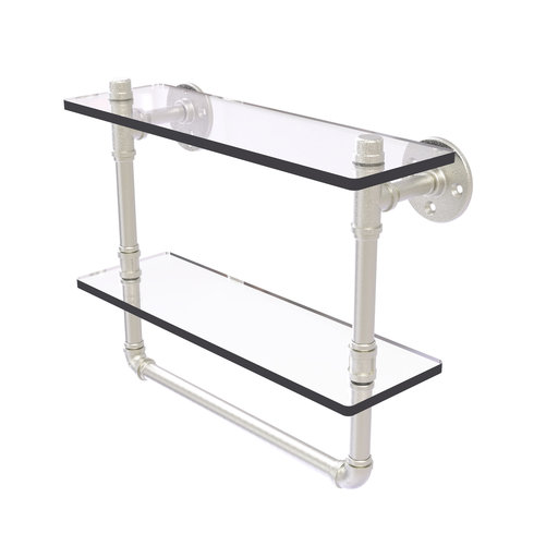 "View a Larger Image of  16"" Double Glass Shelf with Towel Bar, Satin Nickel Finish"