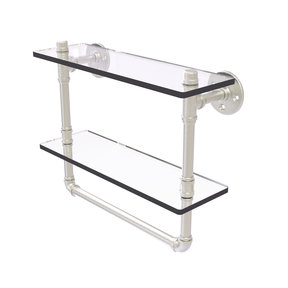 "16"" Double Glass Shelf with Towel Bar, Satin Nickel Finish"