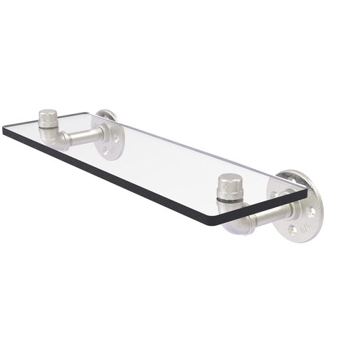 "View a Larger Image of  16"" Glass Shelf, Satin Nickel Finish"