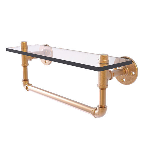 "View a Larger Image of  16"" Glass Shelf with Towel Bar, Brushed Bronze Finish"