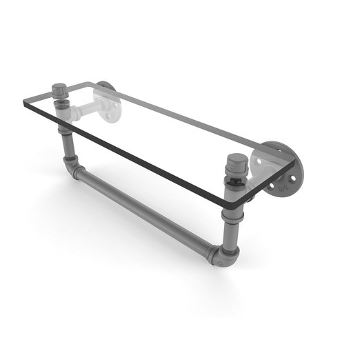 "View a Larger Image of  16"" Glass Shelf with Towel Bar, Matt Gray Finish"